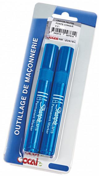 Crayon feutre pointe conique x 2 ø 3mm bleu