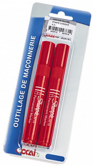 Crayon feutre pointe conique x 2 ø 3mm rouge